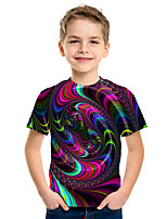 cheap -Kids Boys' Active Street chic 3D Print Short Sleeve Tee Fuchsia