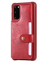 Недорогие -Кейс для Назначение SSamsung Galaxy S20 Plus / S20 Ultra / S20 Защита от удара / Флип Кейс на заднюю панель Однотонный Кожа PU