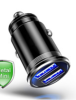 Недорогие -Мини Dual USB-порты Быстрая зарядка QC 3.0 металл Автомобильное зарядное устройство автомобиля USB быстрое зарядное устройство быстрое зарядное устройство автомобильное зарядное устройство для Iphone