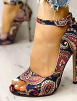 cheap -Women's Sandals Wedge Sandals Summer Stiletto Heel Peep Toe Vintage Party & Evening Satin Flower Color Block Canvas Walking Shoes Blue