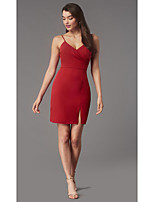 cheap -Sheath / Column Minimalist Sexy Homecoming Cocktail Party Dress Spaghetti Strap Sleeveless Short / Mini Jersey with Split 2020