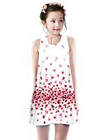 Недорогие -Дети Девочки Классический Симпатичные Стиль Вишня Растения Цветочный принт С принтом Без рукавов До колена Платье Розовый