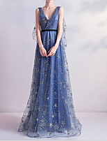 cheap -A-Line Elegant Blue Wedding Guest Formal Evening Dress V Neck Sleeveless Floor Length Polyester with Sequin 2020