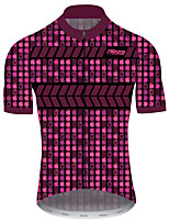 cheap -21Grams Men's Short Sleeve Cycling Jersey Red Gradient Geometic Bike Jersey Top Mountain Bike MTB Road Bike Cycling UV Resistant Breathable Quick Dry Sports Clothing Apparel / Stretchy / Race Fit
