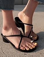cheap -Women's Sandals Low Heel Open Toe PU Summer Black