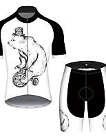Недорогие -21Grams Муж. С короткими рукавами Велокофты и велошорты Черный / Белый Животное Медведи Велоспорт Наборы одежды Устойчивость к УФ Дышащий Быстровысыхающий Впитывает пот и влагу Виды спорта