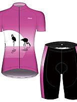Недорогие -21Grams Жен. С короткими рукавами Велокофты и велошорты Розовый Фламинго Цветочные ботанический Велоспорт Дышащий Быстровысыхающий Виды спорта Фламинго Горные велосипеды Шоссейные велосипеды Одежда