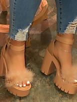 cheap -Women's Sandals Heel Sandals Summer Chunky Heel Peep Toe Daily PU Black / Yellow / Fuchsia