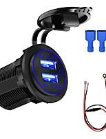 Недорогие -zh-1026f 5 В автомобильное зарядное устройство для мотоцикла / сенсорный выключатель 4.8a с двойной диафрагмой usb синий / красный / зеленый 60см линия / ip66 / экологически чистый материал