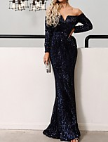 cheap -Mermaid / Trumpet Sparkle Blue Wedding Guest Prom Dress Off Shoulder Long Sleeve Floor Length Polyester with Sequin 2020
