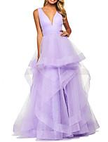Недорогие -С пышной юбкой V-образный вырез В пол Полиэстер Элегантный стиль / Фиолетовый Выпускной / Торжественное мероприятие Платье с Слои юбки 2020