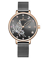 cheap -NAVIFORCE Ladies Quartz Watches Casual Fashion Black Blue Rose Gold Stainless Steel Japanese Quartz Rose Gold Golden+White Red Water Resistant / Waterproof Calendar / date / day Shock Resistant 30 m