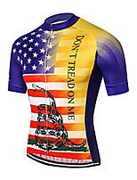 Недорогие -21Grams Муж. С короткими рукавами Велокофты Красный + синий Американский / США Змея Флаги Велоспорт Джерси Верхняя часть Горные велосипеды Шоссейные велосипеды / Эластичная / Быстровысыхающий
