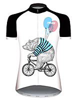 cheap -21Grams Women's Short Sleeve Cycling Jersey Black / White Novelty Animal Balloon Bike Jersey Top Mountain Bike MTB Road Bike Cycling UV Resistant Breathable Quick Dry Sports Clothing Apparel / Bear