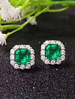 cheap -2 carat Synthetic Emerald Earrings Alloy For Women's Emerald cut Antique Luxury Bridal Wedding Party Evening Formal High Quality Pave