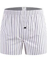 cheap -Men's Print / Basic Boxers Underwear - Plus Size Mid Waist Orange White M L XL