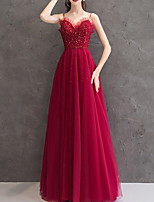 cheap -A-Line Sparkle Red Prom Formal Evening Dress Spaghetti Strap Sleeveless Floor Length Polyester with Pleats Sequin 2020
