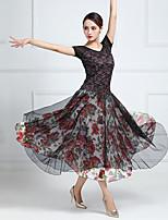 cheap -Ballroom Dance Dress Pattern / Print Split Joint Women's Training Performance Short Sleeve Chiffon Lace Tulle