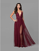 cheap -A-Line Sexy Red Party Wear Formal Evening Dress V Neck Sleeveless Floor Length Chiffon with Split 2020
