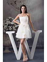 cheap -A-Line Flirty Floral Homecoming Cocktail Party Dress Spaghetti Strap Sleeveless Short / Mini Satin Tulle with Appliques 2020