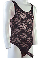 cheap -Men's Lace Bodysuits Nightwear Solid Colored Wine Purple Yellow One-Size