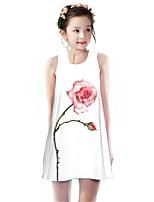 Недорогие -Дети Девочки Классический Симпатичные Стиль Роуз Растения Цветочный принт С принтом Без рукавов До колена Платье Белый