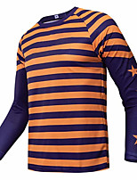 cheap -21Grams Men's Long Sleeve Cycling Jersey Downhill Jersey Dirt Bike Jersey Black / Orange Stripes Geometic Bike Jersey Top Mountain Bike MTB Road Bike Cycling UV Resistant Breathable Quick Dry Sports