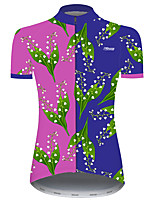 cheap -21Grams Women's Short Sleeve Cycling Jersey Blue+Pink Floral Botanical Bike Jersey Top Mountain Bike MTB Road Bike Cycling UV Resistant Breathable Quick Dry Sports Clothing Apparel / Stretchy