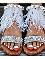 cheap -Women's Sandals Flat Sandal Spring / Summer Flat Heel Open Toe Daily PU Brown