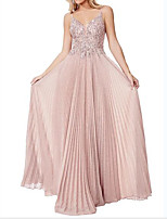 cheap -A-Line Sparkle Pink Wedding Guest Engagement Dress Spaghetti Strap Sleeveless Floor Length Polyester with Pleats 2020