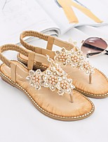 cheap -Women's Sandals Flat Sandal Summer Flat Heel Open Toe Daily PU Almond / White / Black