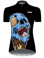 cheap -21Grams Women's Short Sleeve Cycling Jersey Black / Blue Novelty Skull Fruit Bike Jersey Top Mountain Bike MTB Road Bike Cycling UV Resistant Breathable Quick Dry Sports Clothing Apparel / Stretchy