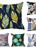 cheap -6 pcs Polyester Pillow Cover, Geometric Floral Print Simple Classic Square Traditional Classic