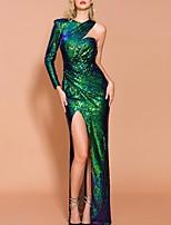 cheap -Mermaid / Trumpet Sparkle Green Prom Formal Evening Dress V Neck Long Sleeve Floor Length Polyester with Split 2020