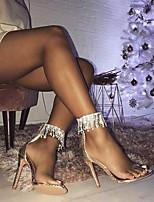 Недорогие -Жен. Свадебная обувь На шпильке Открытый мыс Полиуретан Весна лето Золотой / Черный / Свадьба