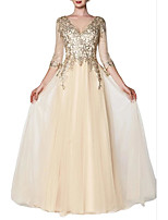 cheap -A-Line Sparkle Gold Engagement Prom Dress V Neck 3/4 Length Sleeve Floor Length Chiffon with Sequin 2020