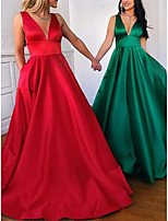 cheap -A-Line Minimalist Red Party Wear Prom Dress V Neck Sleeveless Floor Length Satin with Pleats 2020