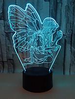 Недорогие -Ангел 3D ночной свет Ночные светильники Меняет цвета / С портом USB USB 1шт