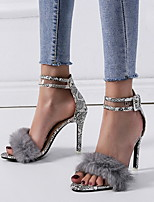cheap -Women's Sandals Stiletto Heel Open Toe PU Summer Black / Beige