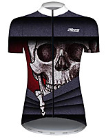 cheap -21Grams Women's Short Sleeve Cycling Jersey Black / Red Novelty Skull Bike Jersey Top Mountain Bike MTB Road Bike Cycling UV Resistant Breathable Quick Dry Sports Clothing Apparel / Stretchy