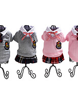 cheap -Dog Rabbits Cat Outfits Tie / Bow Tie Dog Clothes Pink Gray Costume Cotton British Casual / Daily British XS S M L XL