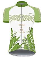 Недорогие -21Grams Жен. С короткими рукавами Велокофты Зеленый Лист Цветочные ботанический Велоспорт Джерси Верхняя часть Горные велосипеды Шоссейные велосипеды Устойчивость к УФ Дышащий Быстровысыхающий