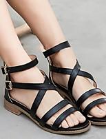 cheap -Women's Sandals Flat Sandal Summer Flat Heel Open Toe Daily PU Black / Pink / Blue