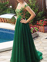 cheap -A-Line Floral Green Engagement Formal Evening Dress Illusion Neck Sleeveless Sweep / Brush Train Chiffon Lace with Pleats Lace Insert Appliques 2020