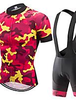 Недорогие -21Grams Муж. С короткими рукавами Велокофты и велошорты-комбинезоны Красный / желтый камуфляж Велоспорт Наборы одежды Устойчивость к УФ Дышащий 3D-панель Быстровысыхающий Впитывает пот и влагу