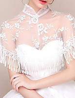 cheap -Sleeveless Scarves Lace Wedding Shawl & Wrap With Tassel
