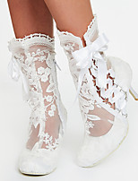 cheap -Women's Boots 2020 Stiletto Heel Round Toe Ribbon Tie Lace Booties / Ankle Boots Sweet / Minimalism Spring &  Fall / Spring & Summer White / Wedding / Party & Evening
