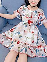 Недорогие -Дети Девочки Симпатичные Стиль Уличный стиль Цветочный принт Оборки С принтом С короткими рукавами Платье Красный