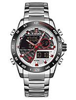 cheap -NAVIFORCE Men's Sport Watch Japanese Quartz Modern Style Sporty Stainless Steel Black / Blue / Silver 30 m Calendar / date / day Chronograph Alarm Clock Analog - Digital Outdoor Army - Black+Gloden