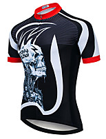 cheap -21Grams Men's Short Sleeve Cycling Jersey Black / White Stripes Skull Bike Jersey Top Mountain Bike MTB Road Bike Cycling UV Resistant Breathable Quick Dry Sports Clothing Apparel / Stretchy